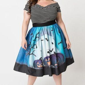 Unique Vintage Blue Moon & Pumpkins Swing Skirt 3X